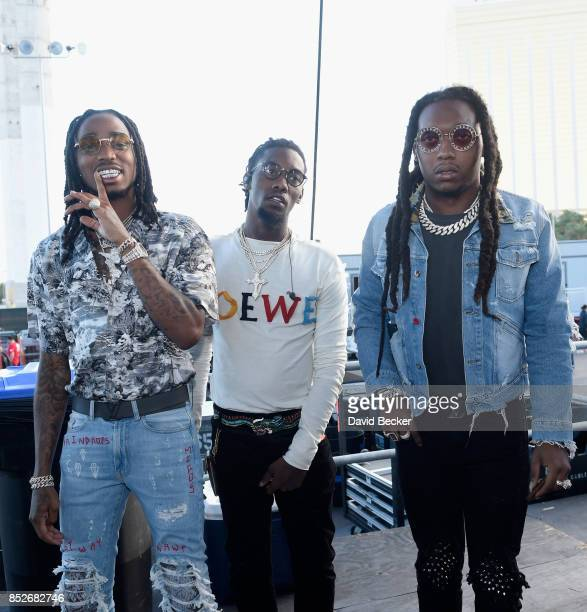 Quavo Offset and Takeoff of Migos pose backstage during the Daytime Village Presented by Capital One at the 2017 HeartRadio Music Festival at the Las...
