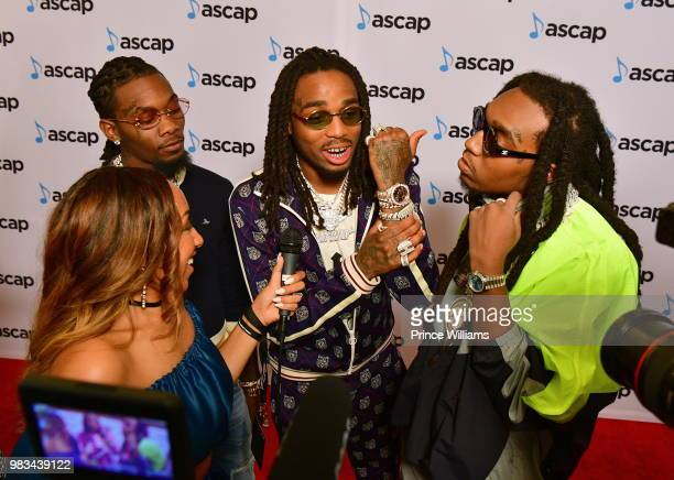 Quavo, Offset and Takeoff of the group Migos attend the 31st Annual Rhythm and Soul Music Awards - Arrivals at the Beverly Wilshire Four Seasons...