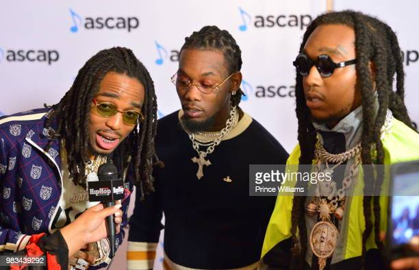 Quavo Offset and Takeoff of the group Migos attend the 31st Annual Rhythm and Soul Music Awards Arrivals at the Beverly Wilshire Four Seasons Hotel...