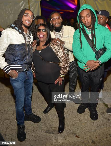 Quavo Offset and Takeoff of The Group Migos attend Trap Du Soleil Celebrating YFN Lucci on February 13 2018 in Atlanta Georgia