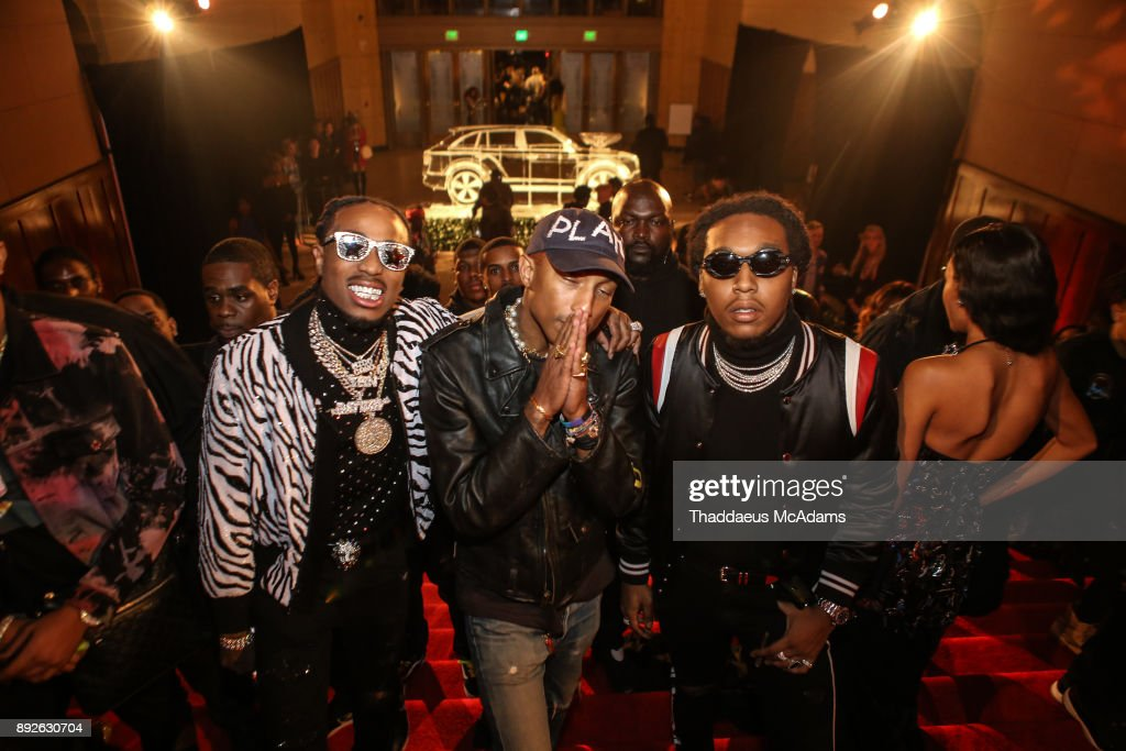 Quavo, Pharell and Takeoff attend The Set Gala at The MacArthur on December 13, 2017 in Los Angeles, California.