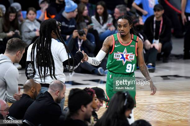 Quavo plays in the NBA All-Star Celebrity Game 2020 Presented By Ruffles at Wintrust Arena on February 14, 2020 in Chicago, Illinois.