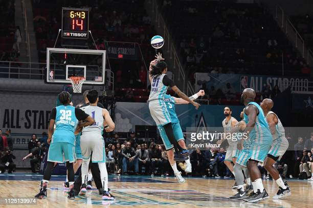 Quavo shoots the ball during the 2019 NBA AllStar Celebrity Game at Bojangles Coliseum on February 16 2019 in Charlotte North Carolina