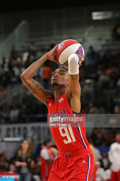 Quavo shoots the ball during the NBA AllStar Celebrity Game presented by Ruffles as a part of 2018 NBA AllStar Weekend at the Los Angeles Convention...