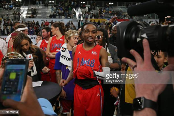 Quavo smiles as he wins the MVP after the NBA AllStar Celebrity Game presented by Ruffles as a part of 2018 NBA AllStar Weekend at the Los Angeles...