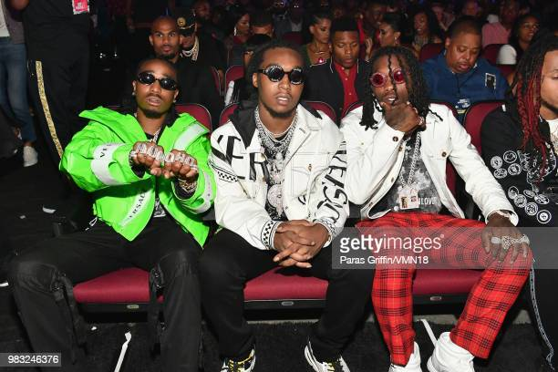 Quavo Takeoff and Offset of Migos attend the 2018 BET Awards at Microsoft Theater on June 24 2018 in Los Angeles California