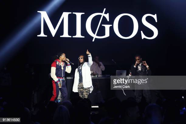 Quavo, Takeoff and Offset of Migos perform onstage at Rolling Stone Live: Minneapolis presented by Mercedes-Benz and TIDAL. Produced in partnership...