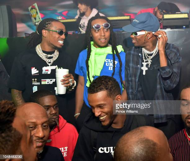 Quavo, Takeoff and Travis Scott attend the Migos Concert after party at Mercy Night Club on October 1, 2018 in Houston, Texas.