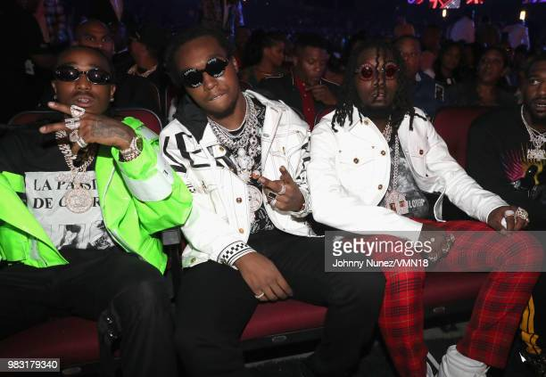 Quavo, Takeoff, Offset of Migos attend the 2018 BET Awards at Microsoft Theater on June 24, 2018 in Los Angeles, California.