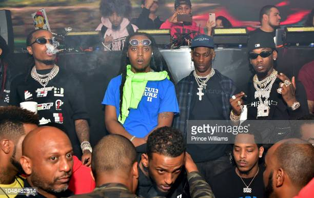 Quavo Takeoff Travis Scott and Offset attend the Migos Concert after party at Mercy Night Club on October 1 2018 in Houston Texas