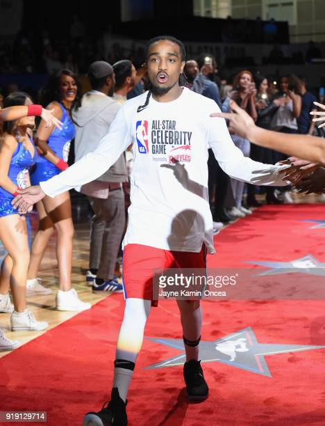 Quavo takes the floor during player introductions prior to the 2018 NBA AllStar Game Celebrity Game at Los Angeles Convention Center on February 16...