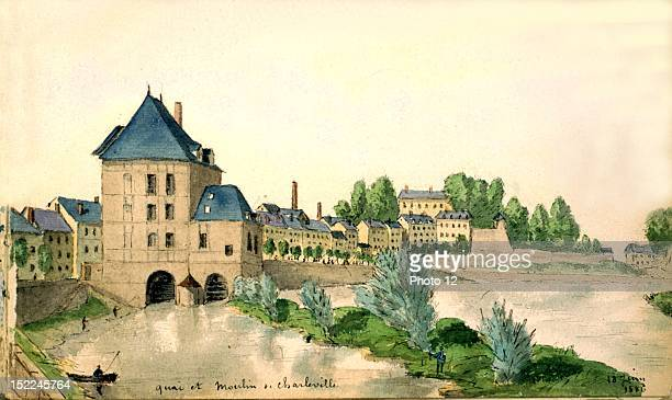 Quay and mill in CharlevilleMezieres watercolor France Departmental Archives of the Ardennes