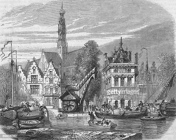 Quay of grain market in Haarlem, Holland, engraving after drawing by Rouargue