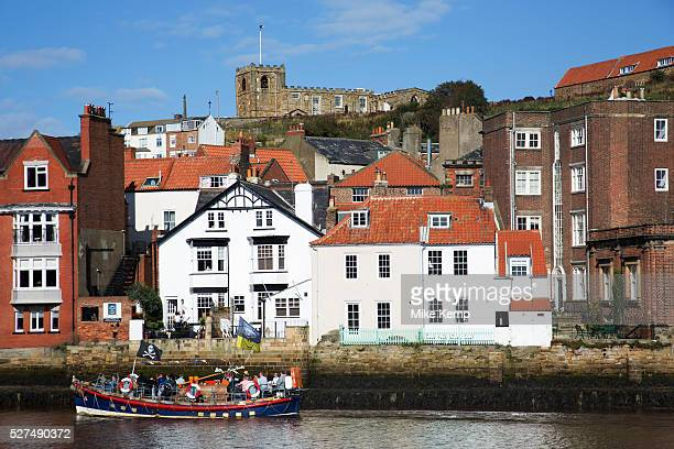 Quayside at the harbour in Whitby a seaside town port in the county of North Yorkshire originally the North Riding Situated on the east coast at the...