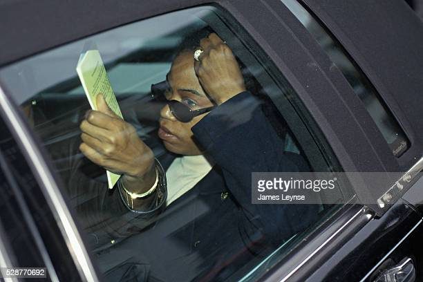 Qubilah Shabazz is the daughter of Malcolm X and Betty Shabazz She is seen here leaving Family Court in Yonkers for the arraignment of her son Malcom...