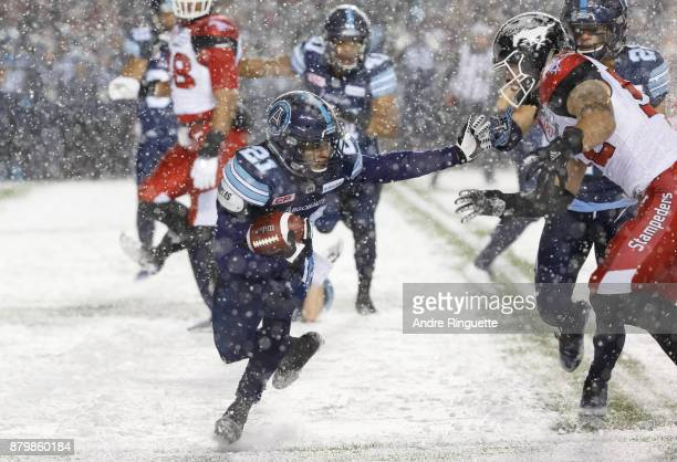 Qudarius Ford of the Calgary Stampeders carries the ball against the Calgary Stampeders during the first half of the 105th Grey Cup Championship Game...