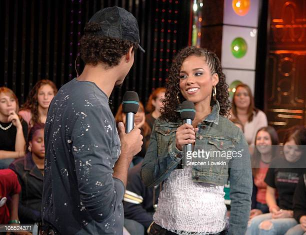Quddus and Alicia Keys during Alicia Keys and Fall Out Boy Visit MTV's 'TRL' October 11 2005 at TRL Studios Times Square in New York City New York...
