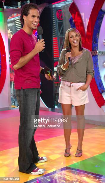 Quddus and Jamie Lynn Spears during Rihanna and Jamie Lynn Spears Visit MTV's 'TRL' September 6 2005 at MTV Studios Times Square in New York City New...