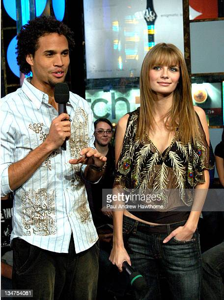 Quddus and Mischa Barton during Mischa Barton and Cedric 'The Entertainer' Visit MTV's 'TRL' February 2 2004 at MTV Studios Times Square in New York...