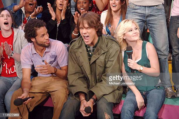 Quddus Elisha Cuthbert and Jared Padalecki during The Cast of 'House of Wax' and Fat Joe Visit MTV's 'TRL' May 5 2005 at MTV Studios Times Square in...