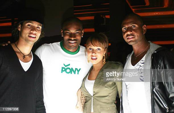 Quddus, Tyson Beckford, Tamia and Emil Wilbekin during Vibe Magazine 10th Anniversary Fashion Party at Cielo in New York City, New York, United...