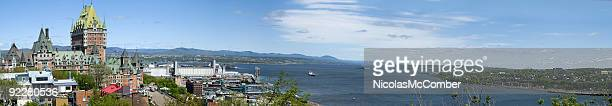 quebec and the saint-lawrence river panoramic view - river st lawrence stock pictures, royalty-free photos & images