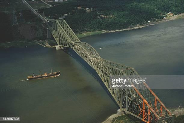 Quebec Bridge across the Saint Lawrence River near Quebec City, Quebec, Canada, 1954.