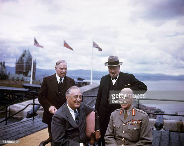 8/18/1943 Quebec Canada Quebec Conference 1943 Back row left Mr Mackenize King Right Winston Churchill Front row left President Roosevlet Right Earl...