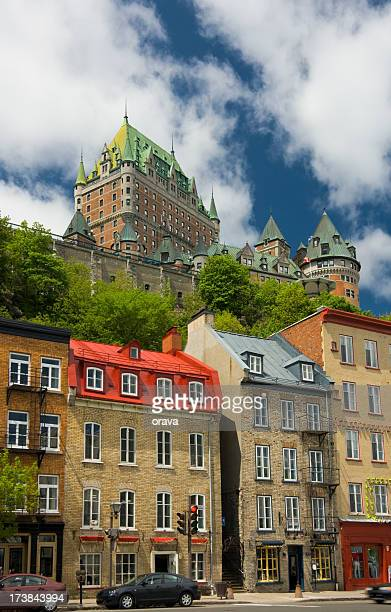 quebec city and the chateau frontenac hotel - chateau frontenac hotel stock pictures, royalty-free photos & images