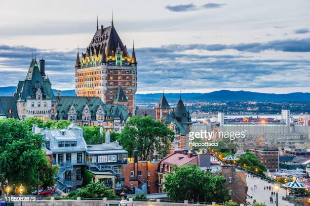 quebec city at sunset - quebec city stock pictures, royalty-free photos & images