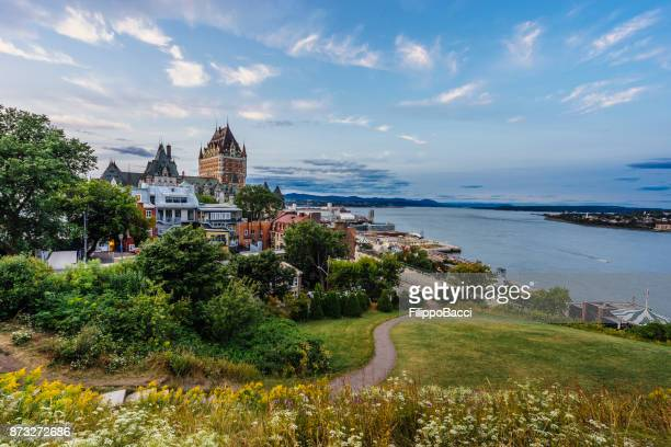 quebec city at sunset - quebec stock pictures, royalty-free photos & images