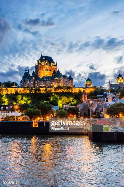 quebec city at sunset - chateau frontenac hotel stock pictures, royalty-free photos & images