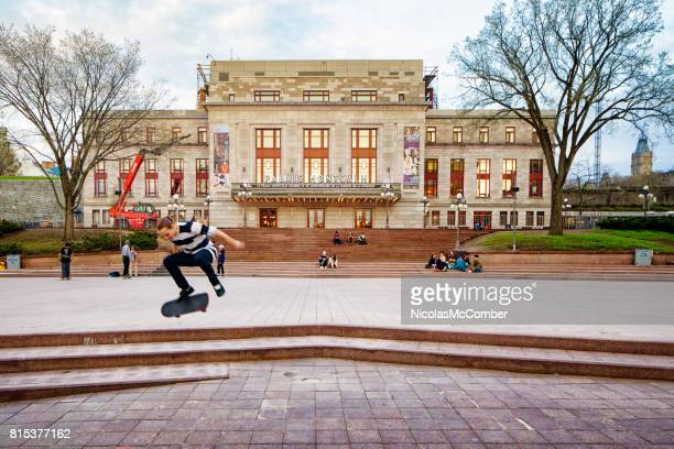 Quebec City Palais Montcalm theater with skateboarders