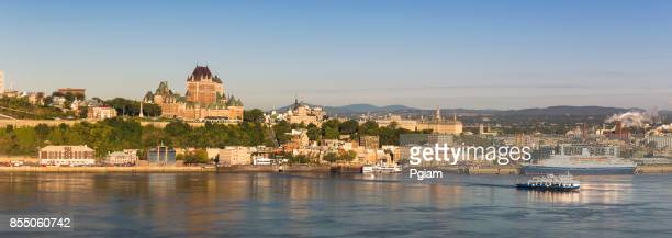quebec city panorama skyline over the saint lawrence river in canada - chateau frontenac hotel stock pictures, royalty-free photos & images