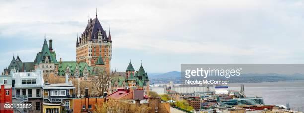 Vista panorámica del skyline de ciudad de Quebec nublado de primavera