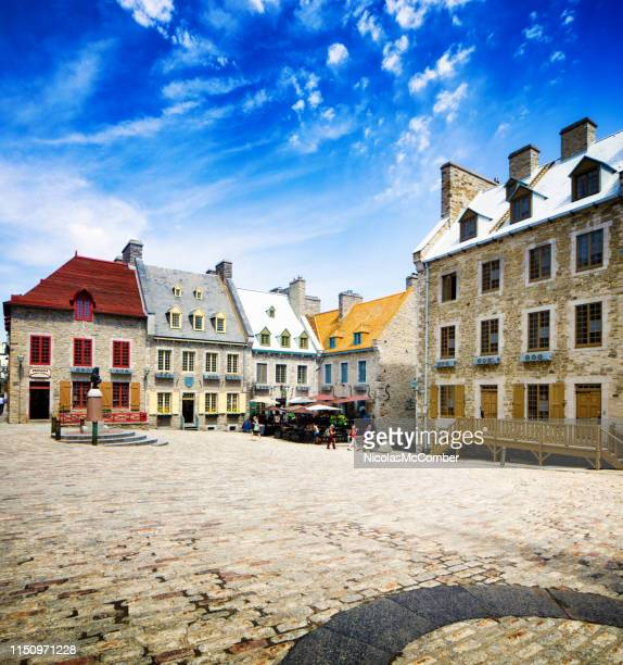 quebec city place royale on a sunny spring day - old quebec stock pictures, royalty-free photos & images