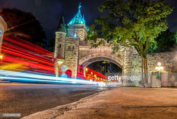 Quebec City Rampart Porte St. Louis Gate Long Exposure at Night