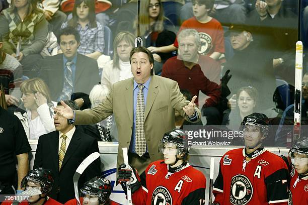 Quebec City Remparts head coach Patrick Roy argues with an official during the game against the Gatineau Olympiques at Colisee Pepsi on February 02...