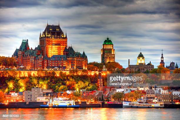 quebec city skyline along the st lawrence river - quebec stock pictures, royalty-free photos & images
