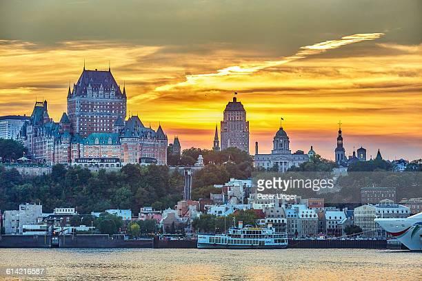 Quebec city skyline at dusk,Quebec