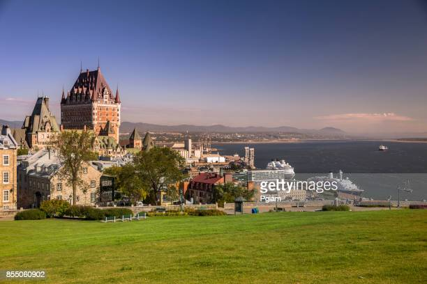 quebec city skyline over the saint lawrence river in canada - old quebec stock pictures, royalty-free photos & images