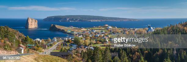 quebec, gaspe peninsula, perce, elevated view of town and perce rock - gaspe peninsula stock pictures, royalty-free photos & images