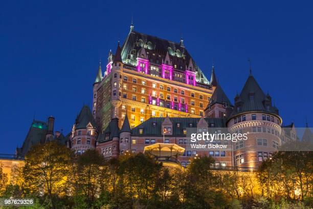 quebec, quebec city, chateau frontenac hotel - chateau frontenac hotel stock pictures, royalty-free photos & images