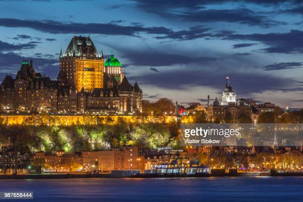 quebec, quebec city, elevated skyline from levis - lévis quebec stock pictures, royalty-free photos & images