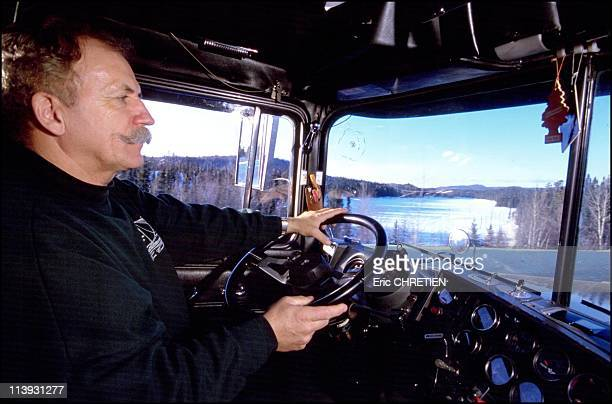 Quebec the 'iced' truckers of Saguenay In Quebec Canada In December 2000At the wheel of his Mack truck Camill covers 3000 kms a week on dangerous icy...