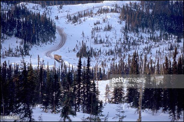 Quebec the 'iced' truckers of Saguenay In Quebec Canada In December 2000To reach the felling sites the trucks follow trails for miles and miles with...