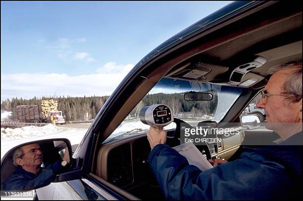 Quebec the 'iced' truckers of Saguenay In Quebec Canada In December 2000Rock Boivin is the 'sheriff' of the trail Paid by logging companies he sees...