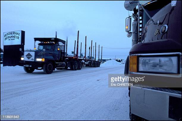 Quebec the 'iced' truckers of Saguenay In Quebec Canada In December 2000The 'Restaurant du Parc' is located at the start of the trail It is the den...