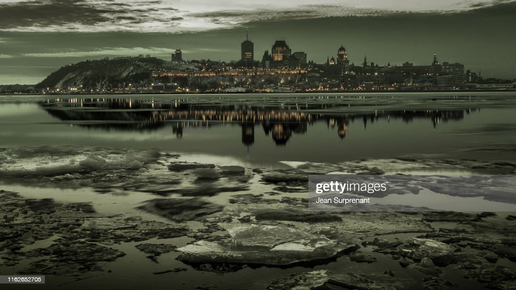 Quebec_city_winter_monochrome_16X9_DRI : Stock Photo