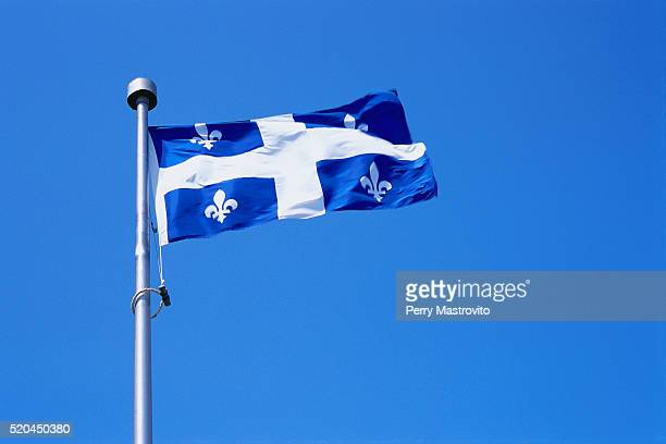 Quebecois Flag Billowing in the Blue Sky